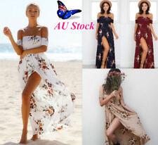 Plus Size Women's Off Shoulder Floral Split Swing Dress Summer Beach Maxi Dress