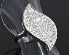 Solid 925 Sterling Silver CZ Ring - Size N 1/2 - 5.19 grams
