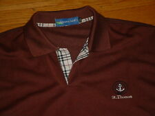 Iguana Jacks St. Thomas Polo Golf Shirt Brown Nova Check Plaid Placket Men XXL