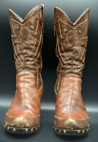 Vintage Leather Western Women's Boots Sz 8 Two-Tone Brown Embossing Studs Heels