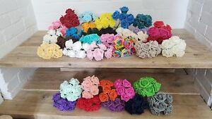 5.5CM FOAM ROSES x 6 Artificial Wedding Bouquet Flowers Stems all colours