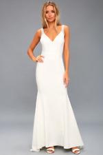 LULUS CELENA  White BEADED MAXI DRESS, size Medium #FL0535