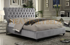 Scroll Studded Sleigh Bed Frame Fabric Velvet   Chenille Double King Superking