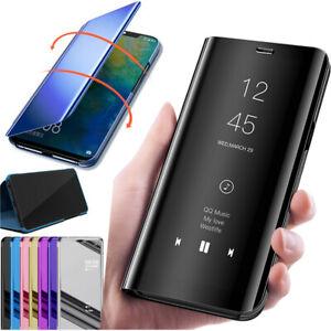 Pour Samsung Galaxy S20 S10 S9 S8 S7 S6 Miroir étui cuir intelligent Flip coque