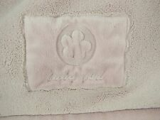 Carters Pink Baby Girl Blanket Polyester Plush with Flower Stitched Patch EUC