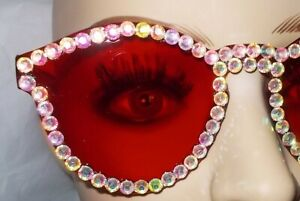 SUN GLASSES GORGEOUS BRIGHT RED WITH CRYSTAL RHINESTONES FREE POUCH & CASE