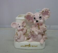 Rare VTG Pink Spaghetti Mother Mouse And Baby Ceramic Planter Gold Trim KB903