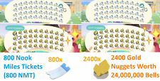✅ Online Now 800 Nook Miles Tickets Nmt and 24 Million Bells In Gold Nuggets