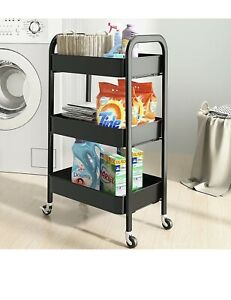 SAYZH 3 Tier Trolley Rolling Utility Cart No Screws Assemble Metal Service Craft