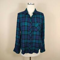 Rails Plaid Button Up Shirt Long Sleeves Black Green Blue Hi Low S Small