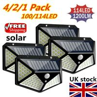 100LED Solar Power Light PIR Motion Sensor Security Outdoor Garden Wall Lamp UK
