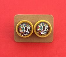 Yellow Skull Handmade Button Glass Surgical Steel Stud Earrings - Aussie Seller!