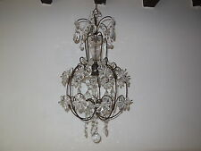 ~c 1920 French Clear Crystal Prisms Flowers Chandelier Vintage Daisy BEAUTIFUL~