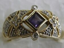 14kt yellow gold diamond and amythst ring  pre-owned estate size 7 1/2 used