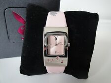Playboy Watch Girls Womens Quartz Pink Lather Strap Ladies Wristwatch Timepiece