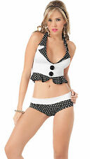 2071 Gogo Rave Zipper Black Polka dots Tankini Bikini Exotic Dance Clubwear S M