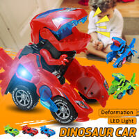 Children LED Light Transformer Dinosaur Car Toy Sound Transforming Kids Toy Gift