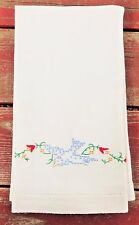 Vintage Dish Towel Embroidered Bluebird Floral Design Cotton Linen Fabric