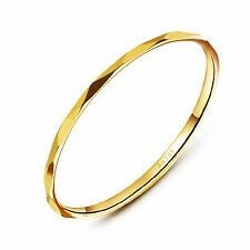 Pure Solid 18K Yellow Gold Ring Elegant Lucky Men Women Diamond thin Rings Xlee