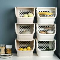 Kitchen Bedroomed Storage Stacking Stackable Basket Fruit Vegetable Racks White