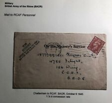 1945 Cheltenham England War Economy OHMS Cover To British Army RCAF In Germany