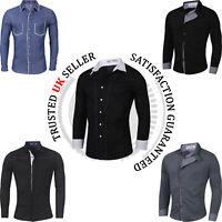 Mens Casual Slim Fit Shirts Long Sleeve Luxury Formal Stylish Dress Shirts Tops