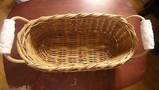 "Vintage Oval Wicker Basket 14"" Length Ceramic White Handles"