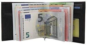 Büffelleder Dollarclip Geldbörse Geldbeutel Portemonnaie Geldklammer Schwarz