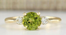 1.40 Carat Natural Peridot 14K Yellow Gold Diamond Ring