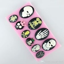 Skull 10 Figure Halloween Cake Decorate Icing Chocolate Resin Silicone Mould #10