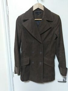 Hennes Coat/Jacket double breasted Corduroy cotton Pockets Lined brown size 8
