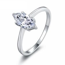 1 CT Marquise-cut Diamond Solitaire ENGAGEMENT RING 14K WHITE GOLD ENHANCED 8