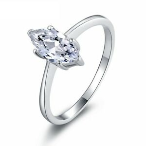 1 CT Marquise-cut Diamond Solitaire ENGAGEMENT RING 18K WHITE GOLD Finish 4