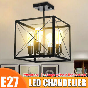 E27 Industrial Vintage Hanging Light Square 4 Head Restaurant Bar Chandelier