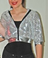 Hip Hop -Adult Sm 3pc by UrbanGroove-silver Sequin jacket,bodysuit,hairband