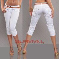 Womens NEW Cotton Capri Pants with FREE Belt Lightweight Below Knee Size 12 14