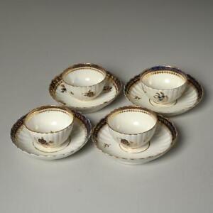 SET OF (4) ANTIQUE CAUGHLEY BLUE & GOLD FLORAL PORCELAIN TEA BOWLS W/ SAUCERS