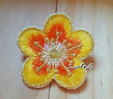 YELLOW GOLD Iron on Transfer Embroidered Daisy Flower Patch Applique Motif Badge