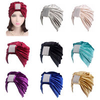 Women Velvet Indian Turban Hats Head Wrap Muslim Chemo Cap Hair Loss Headscarf