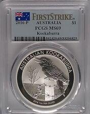 PCGS 2016-P Australia KOOKABURRA $1 Dollar Coin MS69 Silver 1oz 999 FIRST STRIKE