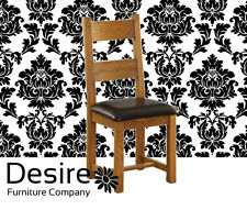 SOLID OAK AND CHOCOLATE LEATHER CHAIR 450*615*1080mm BESP OAK VANCOUVER PETITE