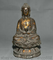 "8,4 ""Bronze Doré Shakyamuni Sakyamuni Amitabha Bouddha Statue de Lotus"