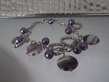 HANDCRAFTED PURPLE AND SHELL BEAD, HEART BRACELET, ADJUSTABLE, BRAND NEW