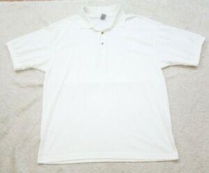 XL White Polo Shirt Short Sleeve Men's Cotton Poly Extra Large Gildan Solid Mans