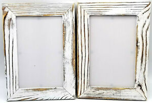 2 Rustic 4x6 Photo Picture Frame Distressed White Wood Farmhouse Wedding Vintage