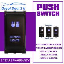 Fit Nissan Navara Push Switch Blue LED DRIVING LIGHTS Pathfinder Patrol X-Trail