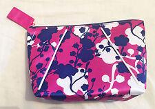 Estee Lauder Purple, Blue & White Floral Print Makeup / Cosmetics Bag NEW