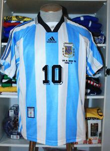VTG ADIDAS 1998 WORLD CUP ARGENTINA SOCCER JERSEY SHIRT ORTEGA RIVER PLATE #10 M