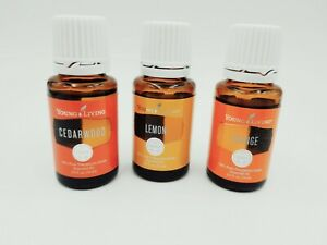 Young Living Essential Oil Set of 3 - Cedarwood, Lemon, & Orange 15ml YLEO NEW!
