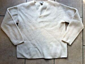 H&M cashmere ivory cream ribbed V neck jumper - size S/UK 10-12